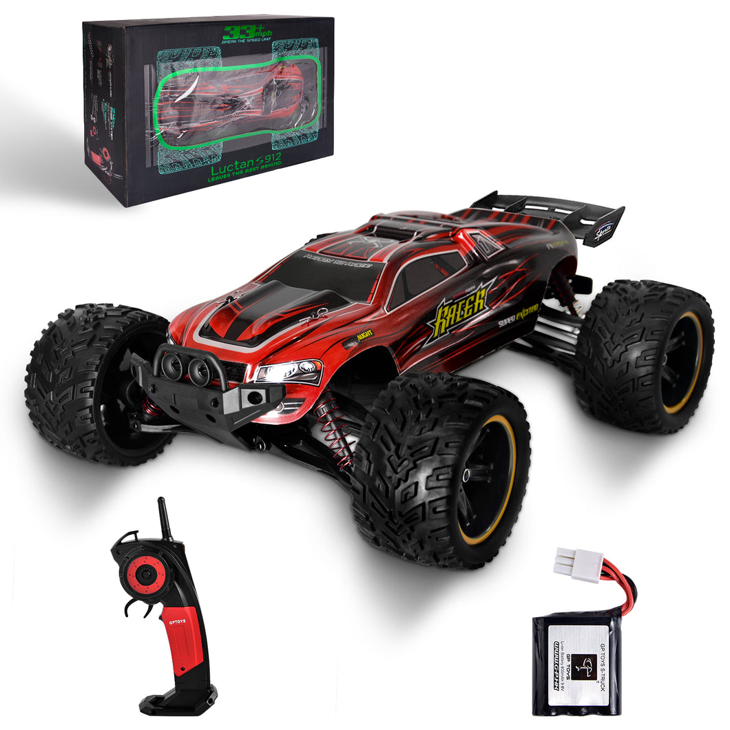 GP TOYS LUCTAN S912 1/12 Scale   , All Terrain 33+MPH  Electric Waterproof  Hobby RC Car Monster Truggy (Red)