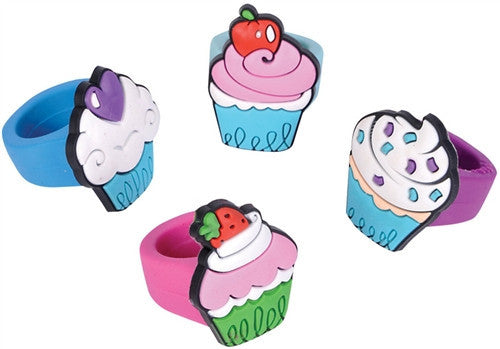 FASHION, Jewelry - *ASSORTED CUPCAKE RUBBER RING- SET OF (4)