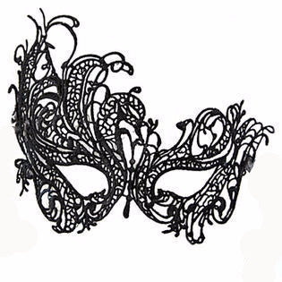 HOLIDAY & SEASONAL, Mardi Gras - *MASK:  BLACK MARDI GRAS LACE EXTENDED ON ONE SIDE MASK