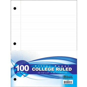 OFFICE & SCHOOL, All Paper Goods - *BAZIC COLLEGE RULE 100 Ct. FILLER PAPER