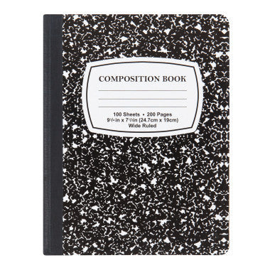 OFFICE & SCHOOL, All Paper Goods - *BLACK & WHITE MARBLE COMPOSITION NOTEBOOK - 100 SHEETS