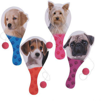 TOYS & CRAFTS, Indoor Toys/Games - PUPPY DOG PADDLE BALL GAME- SET OF 4