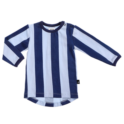 BLOCK STRIPE LS TEE NAVY