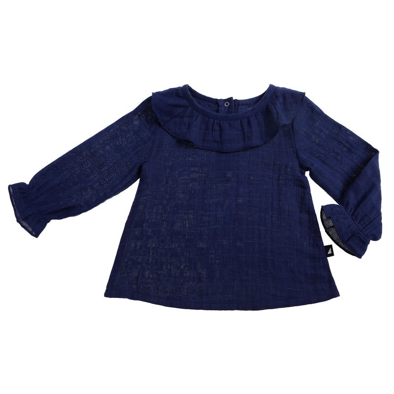 MUSLIN SMOCK TOP NAVY - LAST ONES 3-6 MONTHS