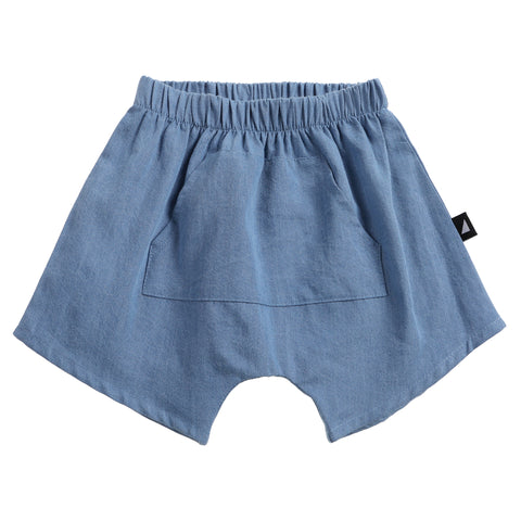 DISTRESSED CHAMBRAY POCKET SHORTS