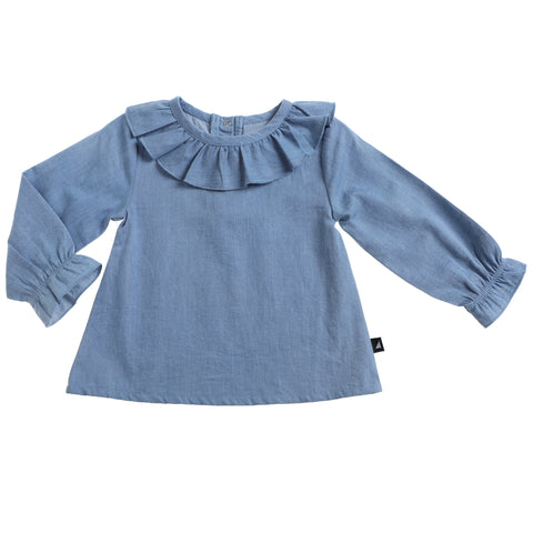 DISTRESSED CHAMBRAY SMOCK