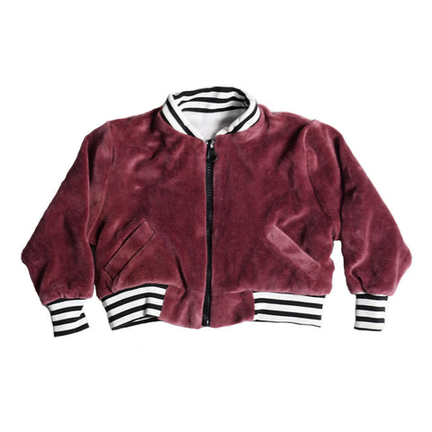 VELOUR BOMBER JACKET BURGANDY