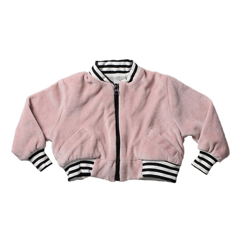 VELOUR BOMBER JACKET PINK
