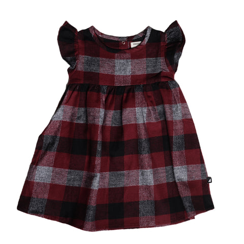 FLANNEL FRILL SLEEVE DRESS BURGUNDY