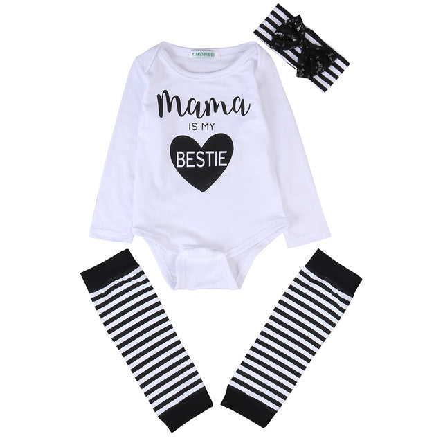 2018 Newborn Baby Clothes 3pcs Set Infant Bebes Mama Is My Bestie