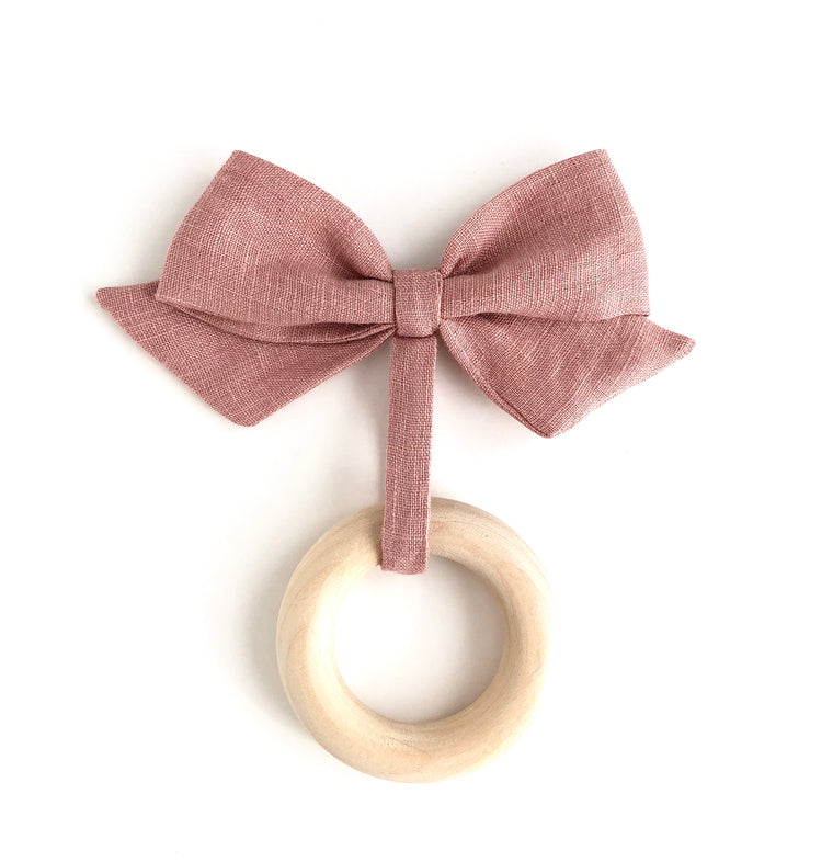 mauve linen bow teether toy