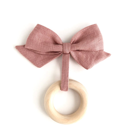 linen bow teether toy [ multiple color selections ]