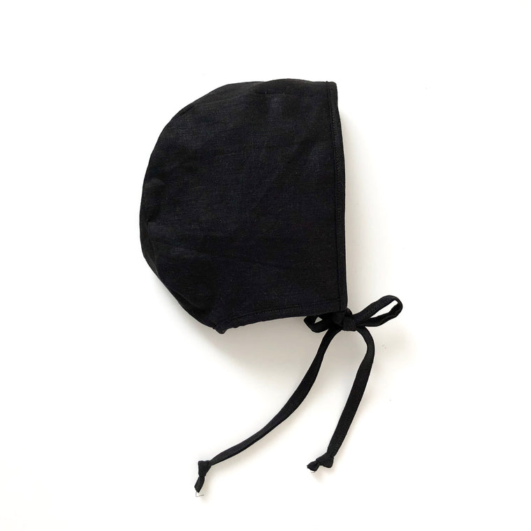 black linen bonnet