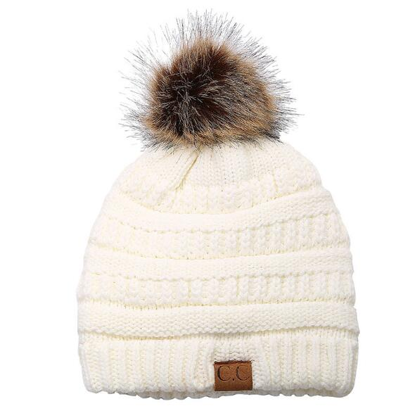 Woman Winter Hat Beanie CC Faux Fur Pom Pom Ball For Hats Knitted Cap Skully Warm Ski Hat Trendy Soft Brand Thick Female Caps - Those Groovy Pets