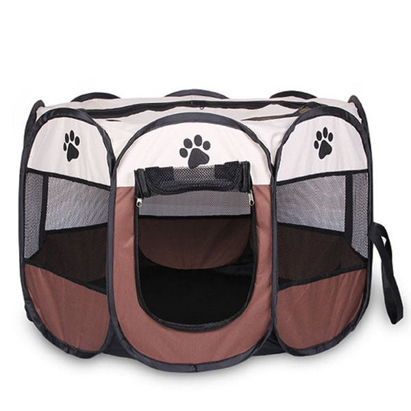 Portable Folding Pet tent Dog House Cage Dog Cat Tent Playpen Puppy Kennel Easy Operation Octagon Fence - Those Groovy Pets