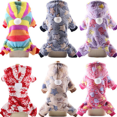 pawstrip Small Dog Clothes Warm Winter Pet Dog Jumpsuit Soft Fleece Puppy Hoodie Autumn Dog Clothing For Teddy Pomeranian XS-XXL - Those Groovy Pets