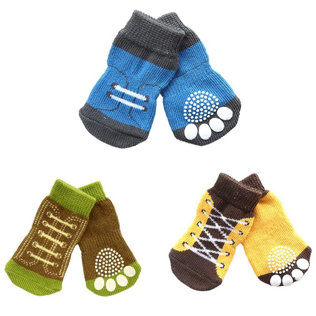 Hot Sales 11 Styles 4pcs Pet Dog Knitted Shoes Pattern Non-slip Socks Paws Cover Shoes Size S M L XL - Those Groovy Pets
