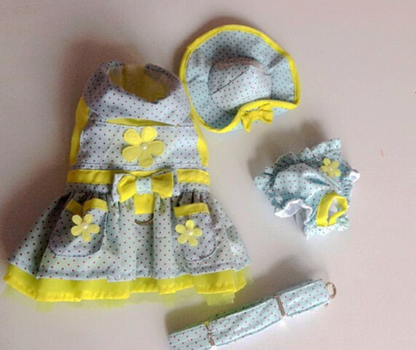 Free shipping dogs cats lovely princess dress set (hat+dress+lead+shorts) doggy costume bowknot dress dog clothes leash 1pcs - Those Groovy Pets