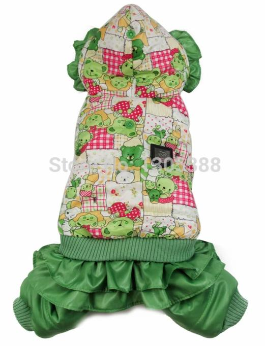 Green Bear Printing  bubble padded luxury fur Style Pet dogs Winter Coat Free Shiping By CPAM Dogs Clothing - Those Groovy Pets