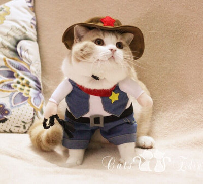 Popular Pet Cat Costume Funny West Cowboy Pet Dog Clothes Kitty Suit Clothing With Hat Small Pet Supplies D084 - Those Groovy Pets