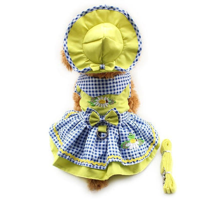 Armi store Flower Pattern Dog Dresses Princess Dress Dogs 6071055 Pet Supplies ( Dress + Hat + Panties + Leash = 1set - Those Groovy Pets