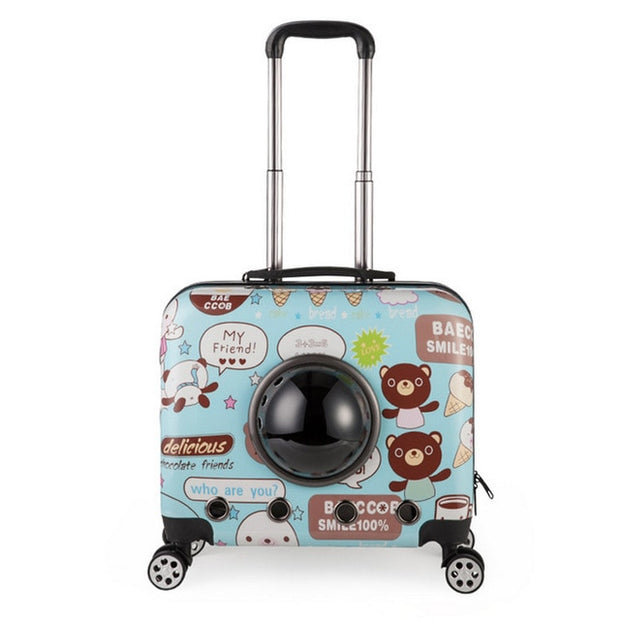 Small Animal Pet luggage on wheels dog Cat Carrier Travel Tote Trolley Bags for Dogs Stroller Luggage Free shipping - Those Groovy Pets