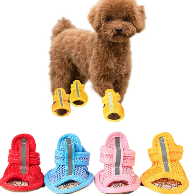 4pcs-lot-hot-sale-casual-anti-slip-small-dog-shoes-cute-pet-shoes-shoe-spring-summer-breathable-soft-mesh-sandals-candy-colors - Those Groovy Pets