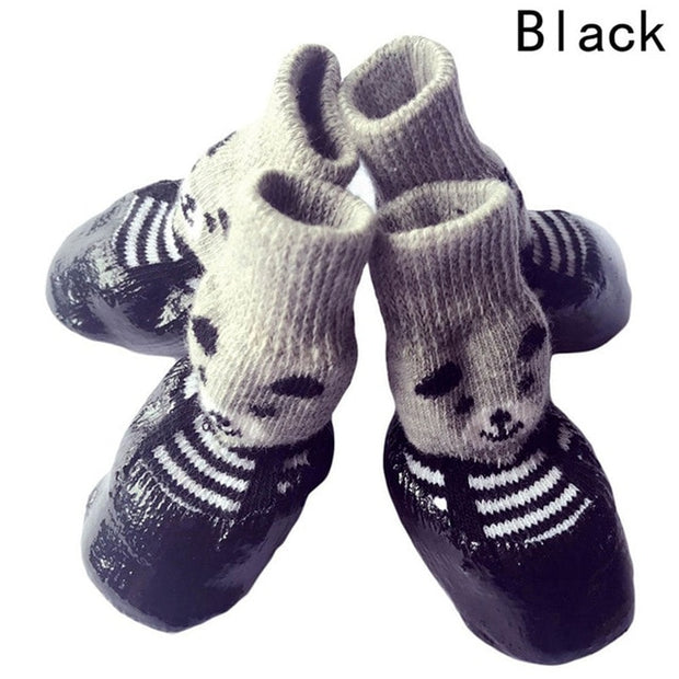 4pcs/set S M L Size Cotton Rubber Pet Dog Shoes Waterproof Non-slip Dog Rain Snow Boots Socks Footwear For Puppy Small Cats Dogs - Those Groovy Pets