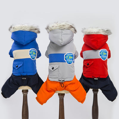 New Thickness Hooded Windbreaker Style Pet Dogs Four Legs Cotton Winter Coat  Warm Small Puppy Dogs Clothing - Those Groovy Pets