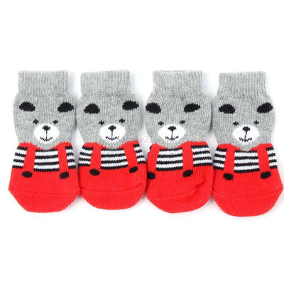 4pcs/set Cute Dog Indoor Shoes Pet Small Dog Warm Soft Socks Anti-slip Cotton Knit Socks Skid Bottom - Those Groovy Pets