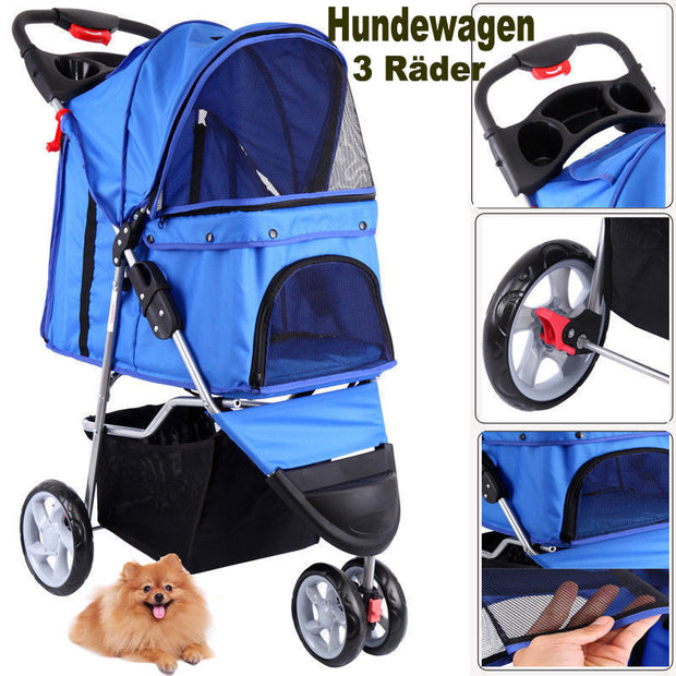 (Ship from EU) 3 Wheels Pet Stroller Dog Cat Cart Puppy Pet Stroller Folding Pet Carrier for Travel Walking - Those Groovy Pets