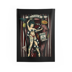 Lydia The Tattooed Lady Indoor Wall Tapestry