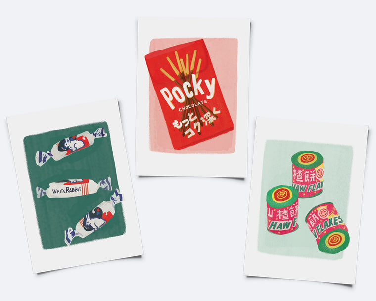 Set of THREE Little Prints: White Rabbit, Pocky, Haw Flakes