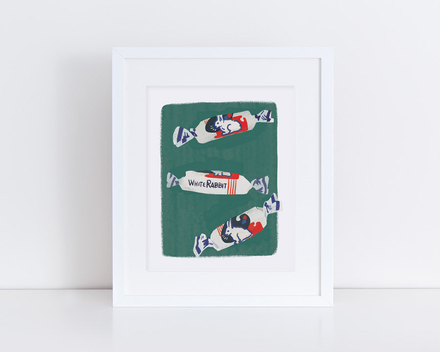 White Rabbit Candy Print