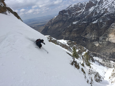 Alex Lundstrom skiing Terminal Cancer Couloir Ruby Mountains