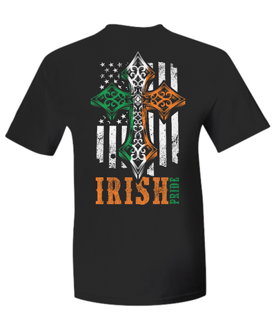 Irish Pride American Flag With Celtic Cross - T-Shirt