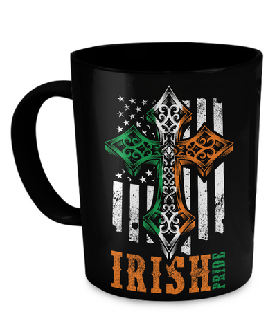 Irish Pride American Flag With Celtic Cross - Coffee Mug