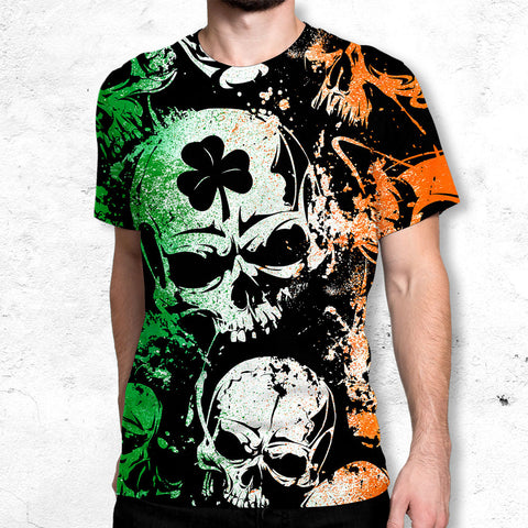 Irish Skulls All Over Printed T-shirt