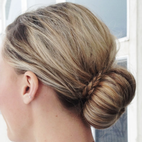 french dutch braid to bun sock messy easy hairstyle fast hairdo baltic born