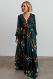 Lydia Deep Topaz Floral Maxi Dress