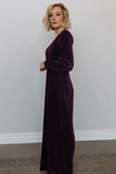 Venus Plum Pleated Maxi Dress