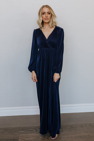 Venus Navy Pleated Maxi Dress