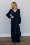 Venus Navy Pleated Maxi Dress - Baltic Born