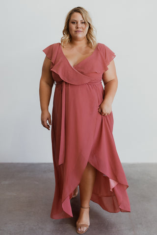 Katya Rosewood Ruffle Maxi Dress