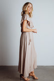 Jennifer Sand Deep V Maxi Dress