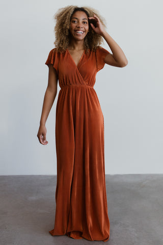 Athena Rust Pleated Maxi Dress