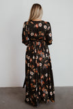 Jenna Black Floral Satin Maxi Dress