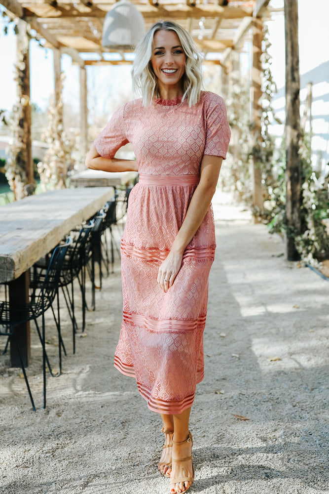 Windsor Rose Lace Midi Dress
