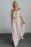 Victoria Blush Off Shoulder Maxi Dress