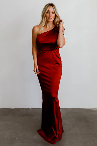 Elizabeth Scarlet One Shoulder Gown